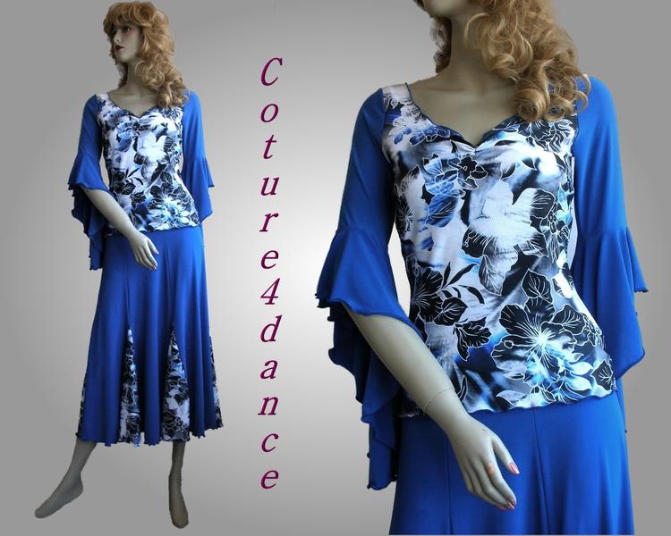 shirt tahnee hibiskus blau tanzshirt tanzbekleidung. Black Bedroom Furniture Sets. Home Design Ideas