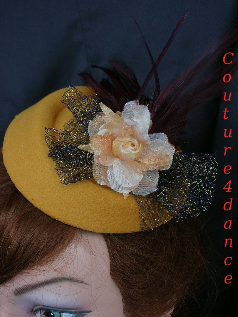 Fascinator Ockergelb