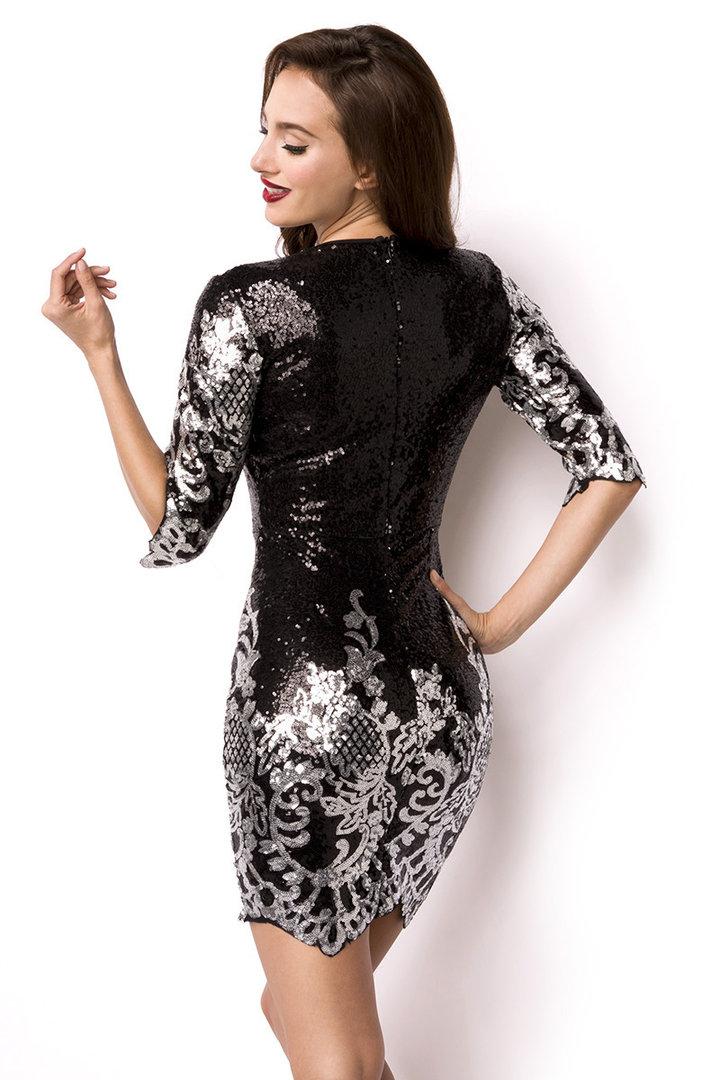 Pailletten-Kleid, schwarz/silber Tanzkleidung Partymode