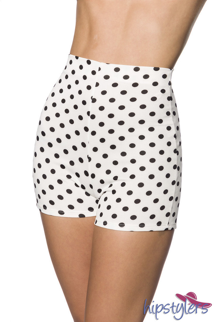 High Waist Shorts, Weiß Dots